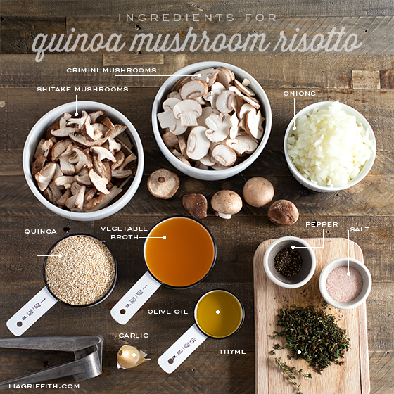 Ingredients for Quinoa Mushroom Risotto