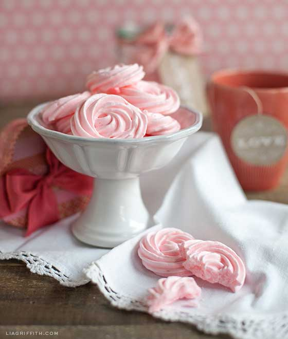 Valentines Raspberry Rose Meringues