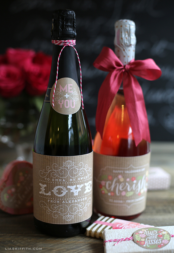 Valentines Day Champagne Labels