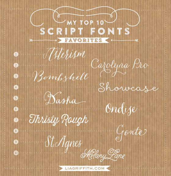 Favorite Top 10 Script Fonts
