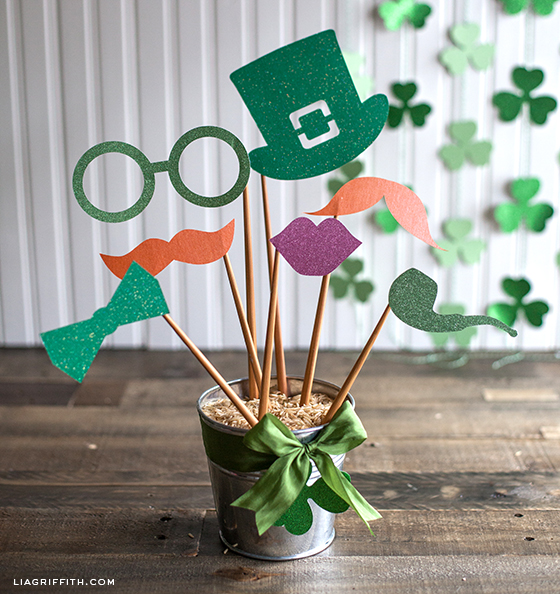 Printable St. Patricks Day Glitter Photo Props