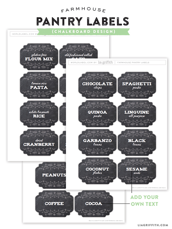 graphic relating to Printable Pantry Labels named Printable Farmhouse Pantry Labels