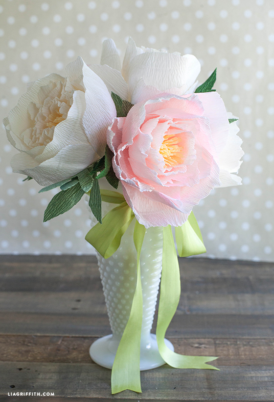 Diy crepe paper peonies in cream blush colors lia griffith crepe paper peonies bouquet make diy paper peonies centerpiece mightylinksfo