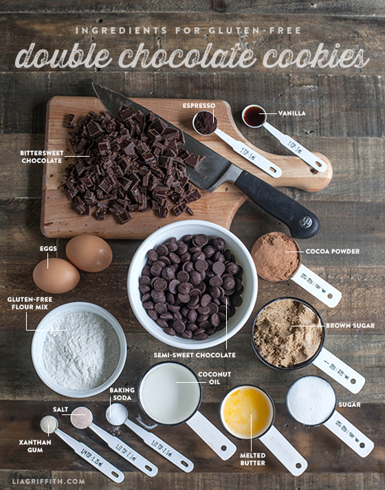 Ingredients for Gluten Free Double Chocolate Cookies