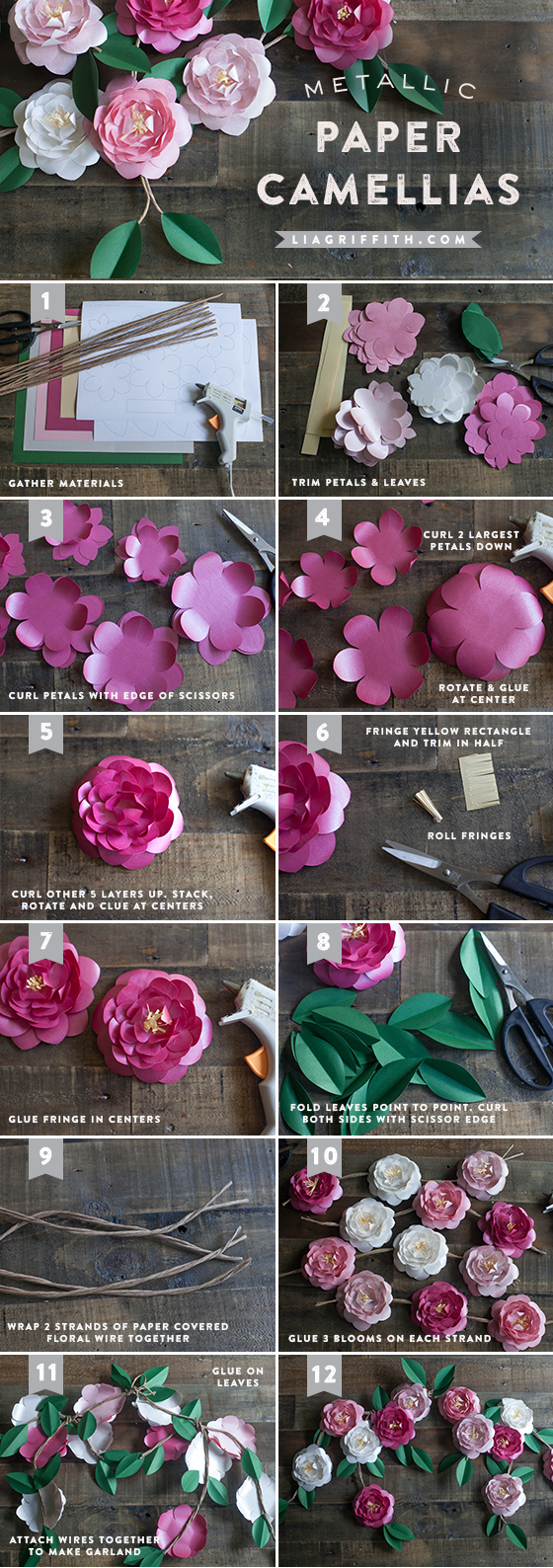 DIY paper Camellias flower tutorial