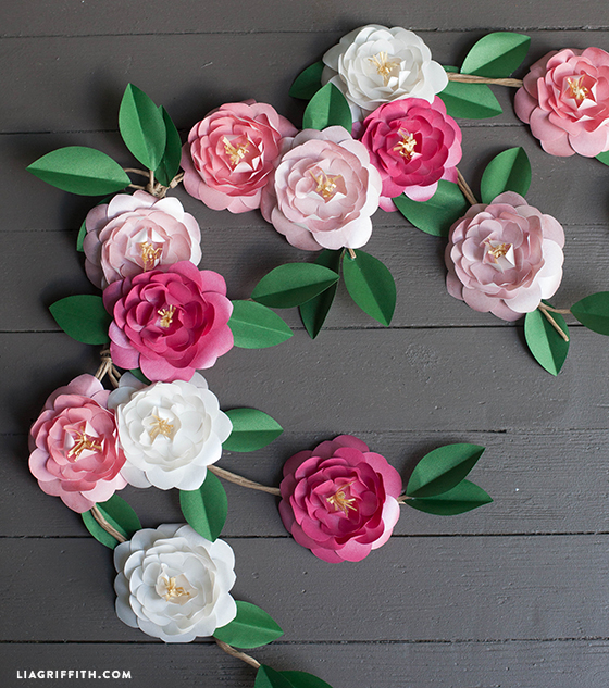 Pretty paper flower garland party or wedding decor