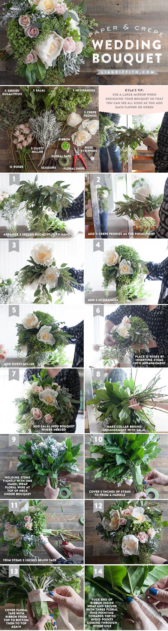 Diy bridal bouquet with fresh and crepe paper flowers diygardenweddingbouquet laurenbridalbouquet jennabridesmaidbouquet bridalbouquettutorial izmirmasajfo