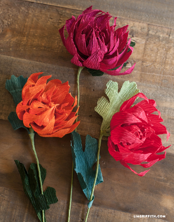 Crepe Paper Mums - How to make paper flowers for Fall