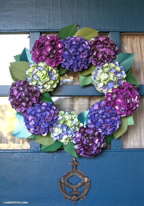 Diy paper hydrangea wreath tutorial lia griffith deck the halls with a paper hydrangea wreath mightylinksfo