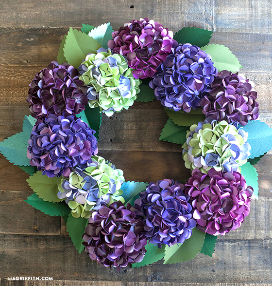 purple and green frosted paper hydrangea wreath