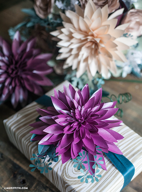 Paper Dahlia as personalized gift toppers