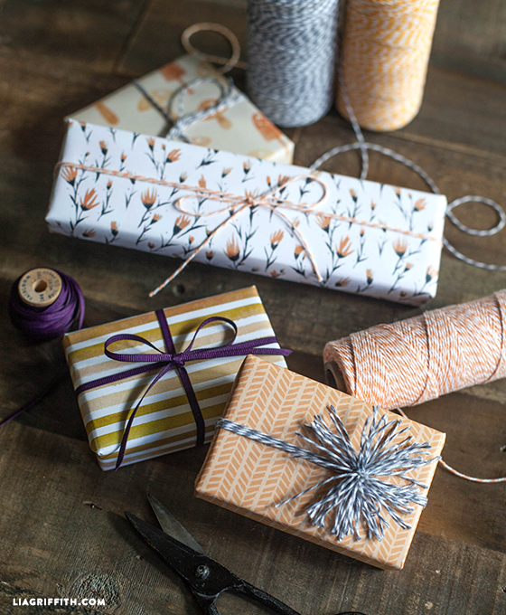 Printable Fall Gift Wrap In Plum And Pumpkin Colors