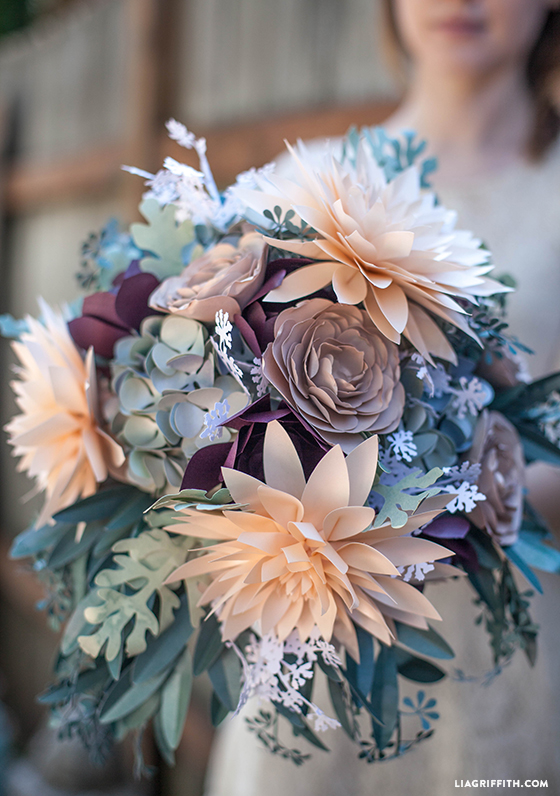 DIY Rustic Paper Bridal Bouquet - Lia Griffith