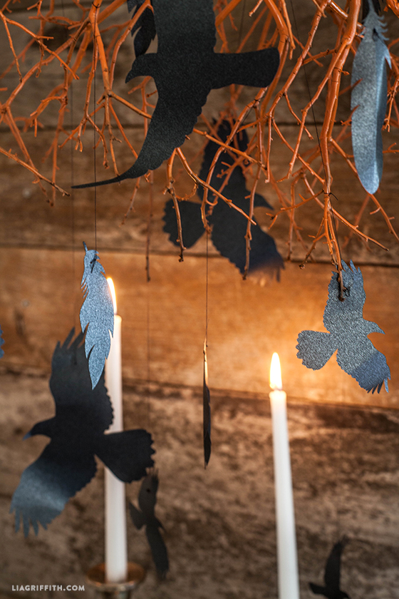 DIY Halloween Decorations - Flying Paper Crows