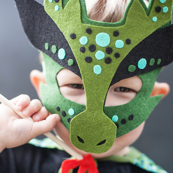 Homemade Halloween Costume No Sew Dragon Mask