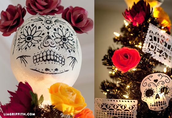 black_halloween_tree day_of_the_dead_tree black_dahlia_wreath sugarscullwreathsteps paper_sugar_scull sugar_scull_tree_topper - Day Of The Dead Halloween Decorations