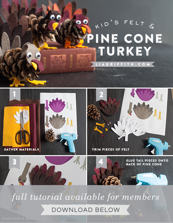Photo tutorial for kid's felt and pine cone turkey craft by Lia Griffith
