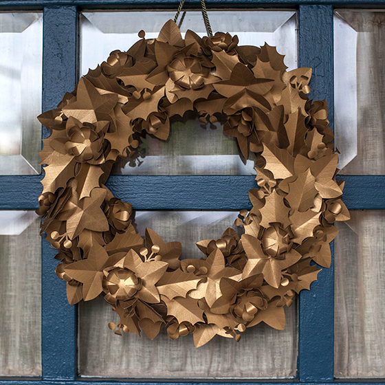 Metallic Gold Paper Holiday Wreath - Lia Griffith