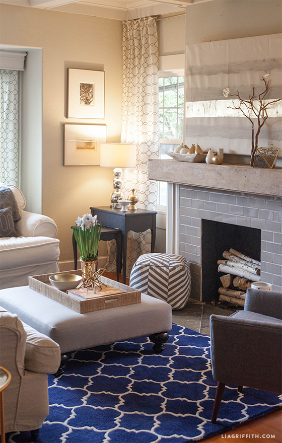 Navy White Gold Living Room