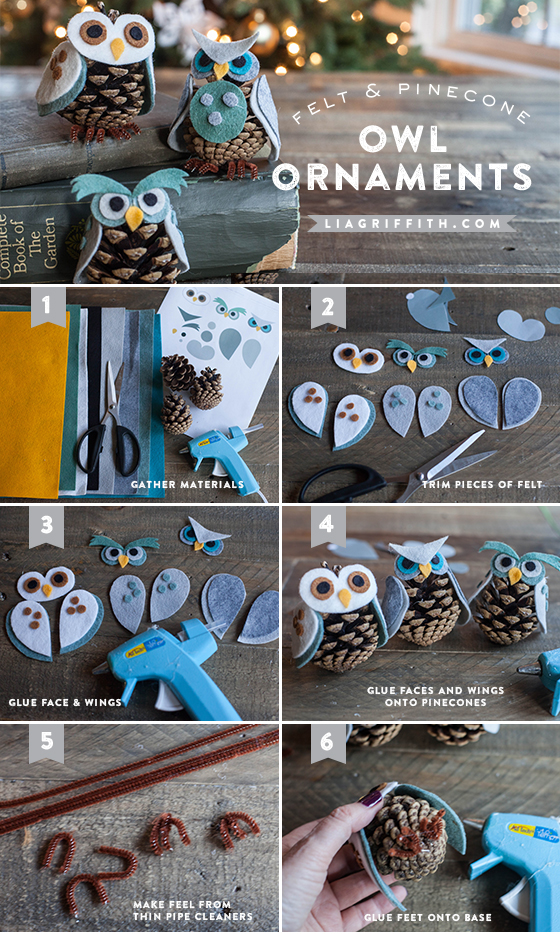 Pine Cone Owl Ornaments Kid S Craft Lia Griffith