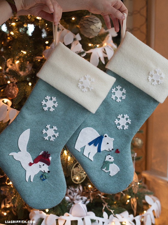 DIY Felt Stockings with Arctic Fox and Polar Bears Pattern | Lia Griffith