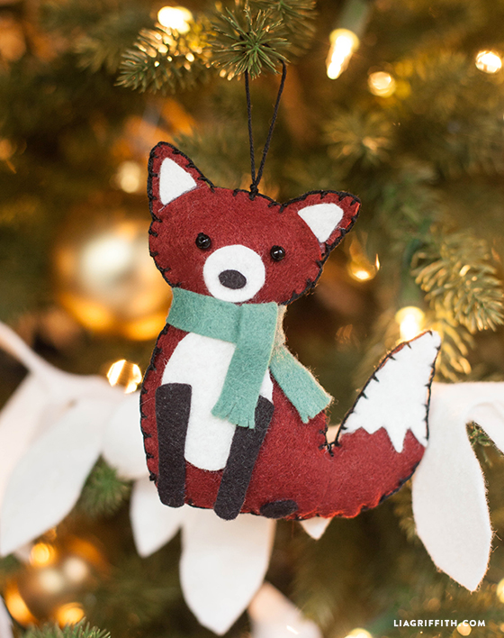 Fox animal felt ornament lia griffith for Animal decoration