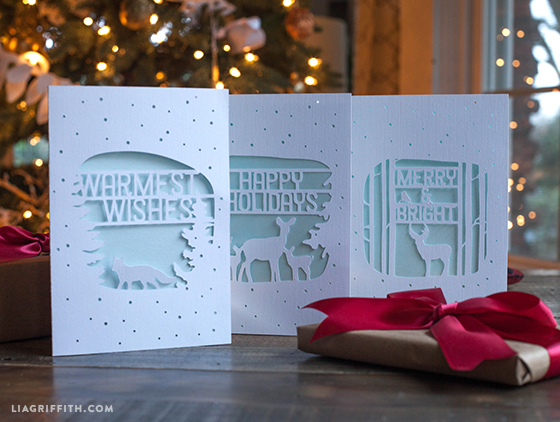 holiday_woodland_diy_cards paper_cut_holiday_cards - Elegant Christmas Cards