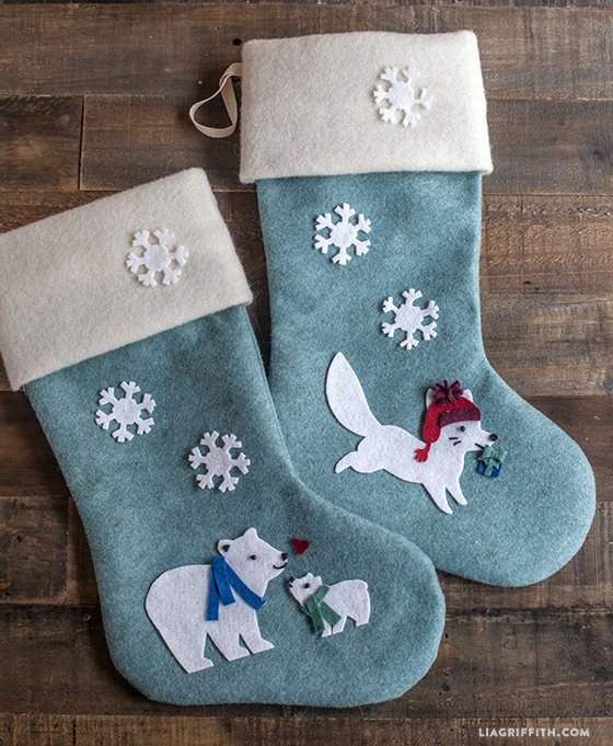 yesterday our studio was buzzing with last minute christmas crafting we made these two adorable diy felt christmas stockings along with two elegant white