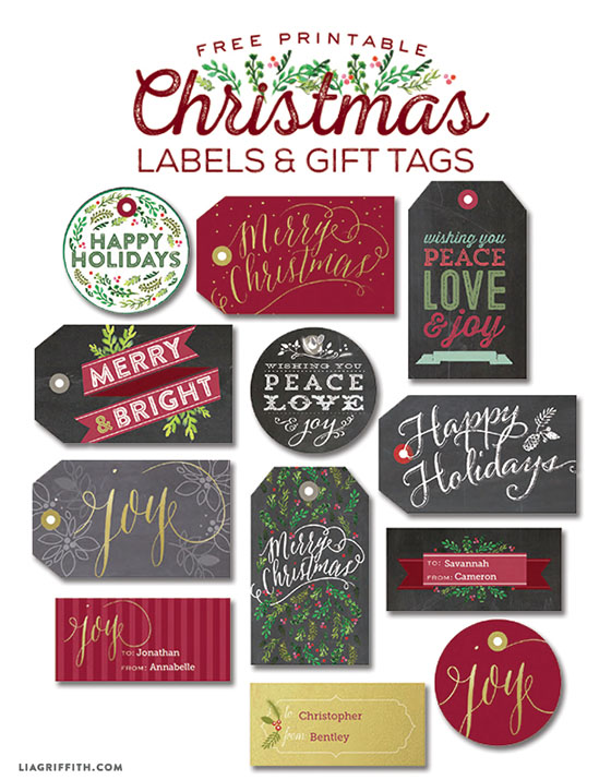 christmas gift tags labels to print lia griffith