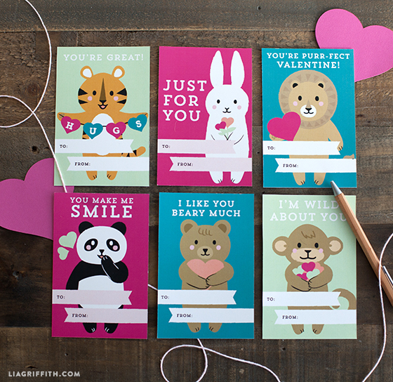 picture regarding Printable Valentines Day Cards for Kids named Come across Adorable Printable Small children Valentines Working day Playing cards through Lia Griffith