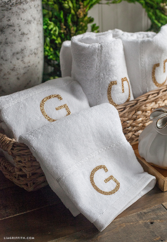 simple and elegant monogrammed towels lia griffith