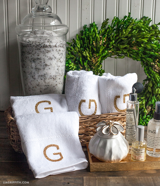Simple And Elegant Monogrammed Towels Lia Griffith - Monogrammed hand towels for small bathroom ideas