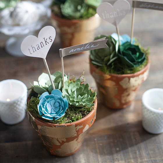 DIY Wedding Favors Paper Succulent Pots