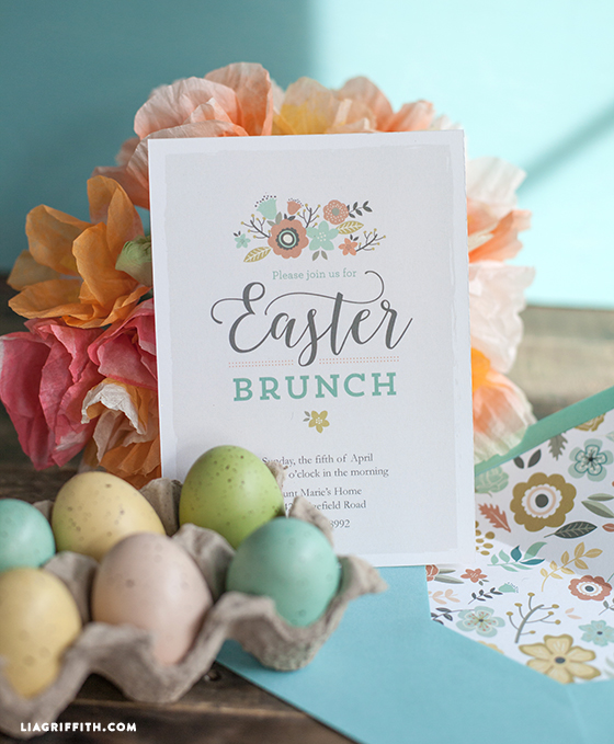 printable easter brunch invitation envelope liner lia griffith