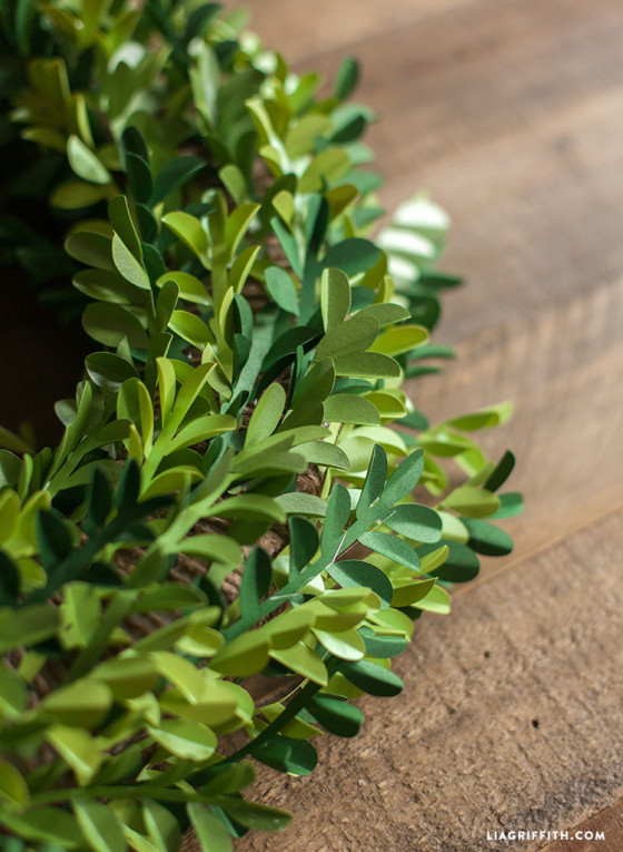 DIY Paper Boxwood Wreath for Spring - Lia Griffith