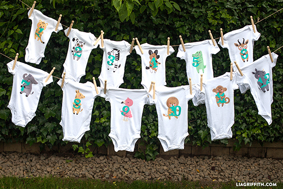 Safari Themed Baby Onesies For 1 Through 12 Months Lia
