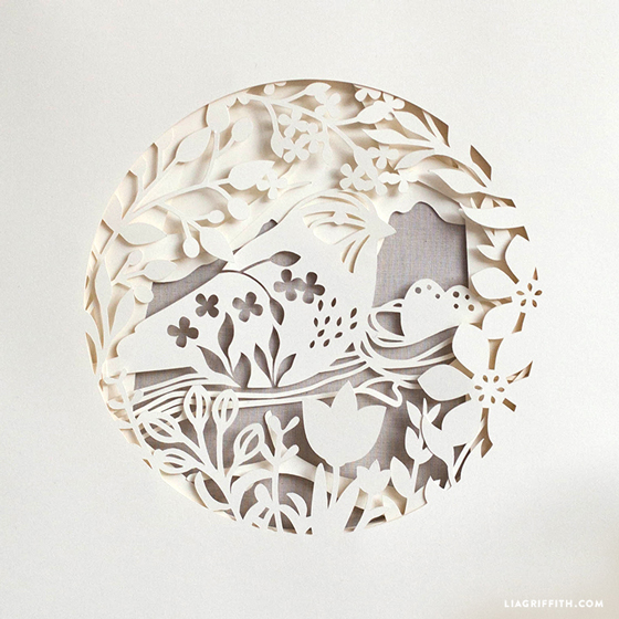 papercut spring bird artwork