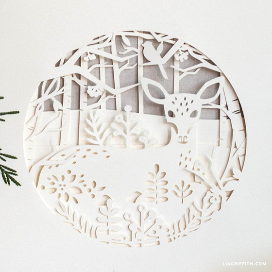 papercut winter deer design