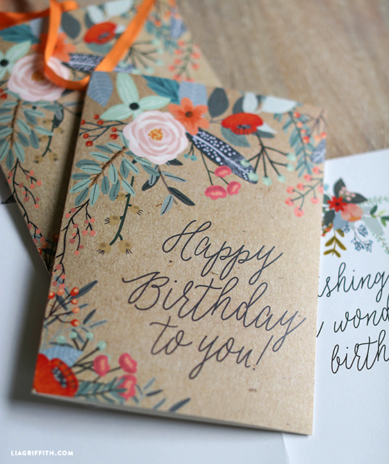 Pretty Printable Floral Greetings Cards Lia Griffith