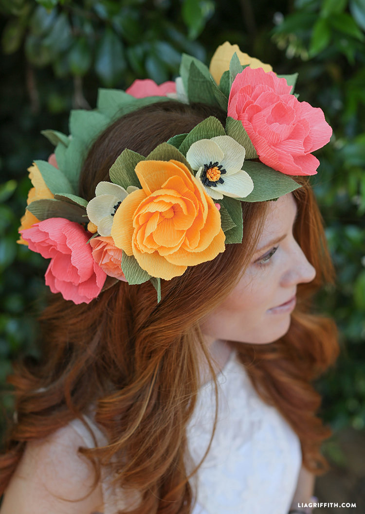 Diy Crepe Paper Flower Headband Lia Griffith