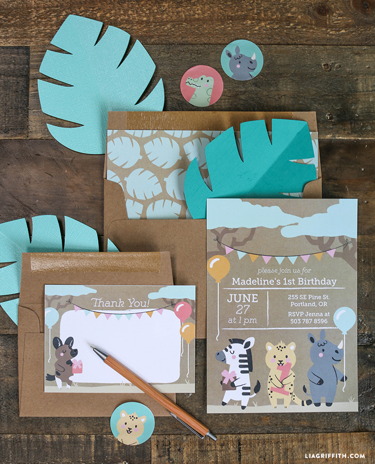 Safari Themed Printable Birthday Invitations - Lia Griffith