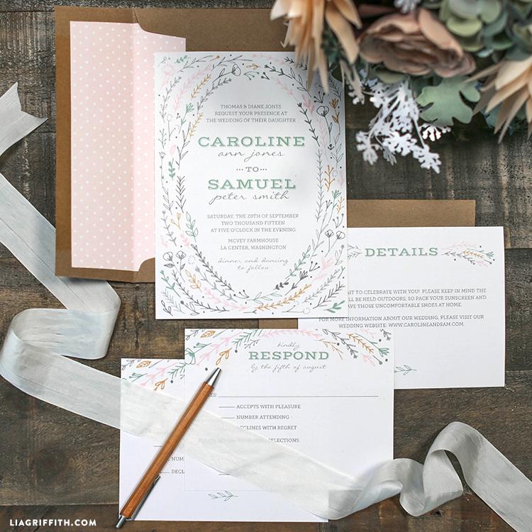 Printable Rustic Wedding Invitations - Lia Griffith