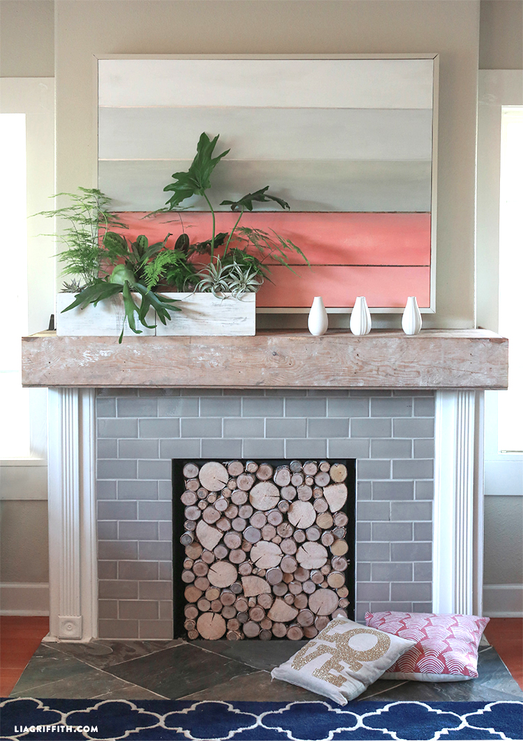 Make your own gorgeous natural birchwood fireplace cover with this simple project from handcrafted lifestyle expert Lia Griffith.
