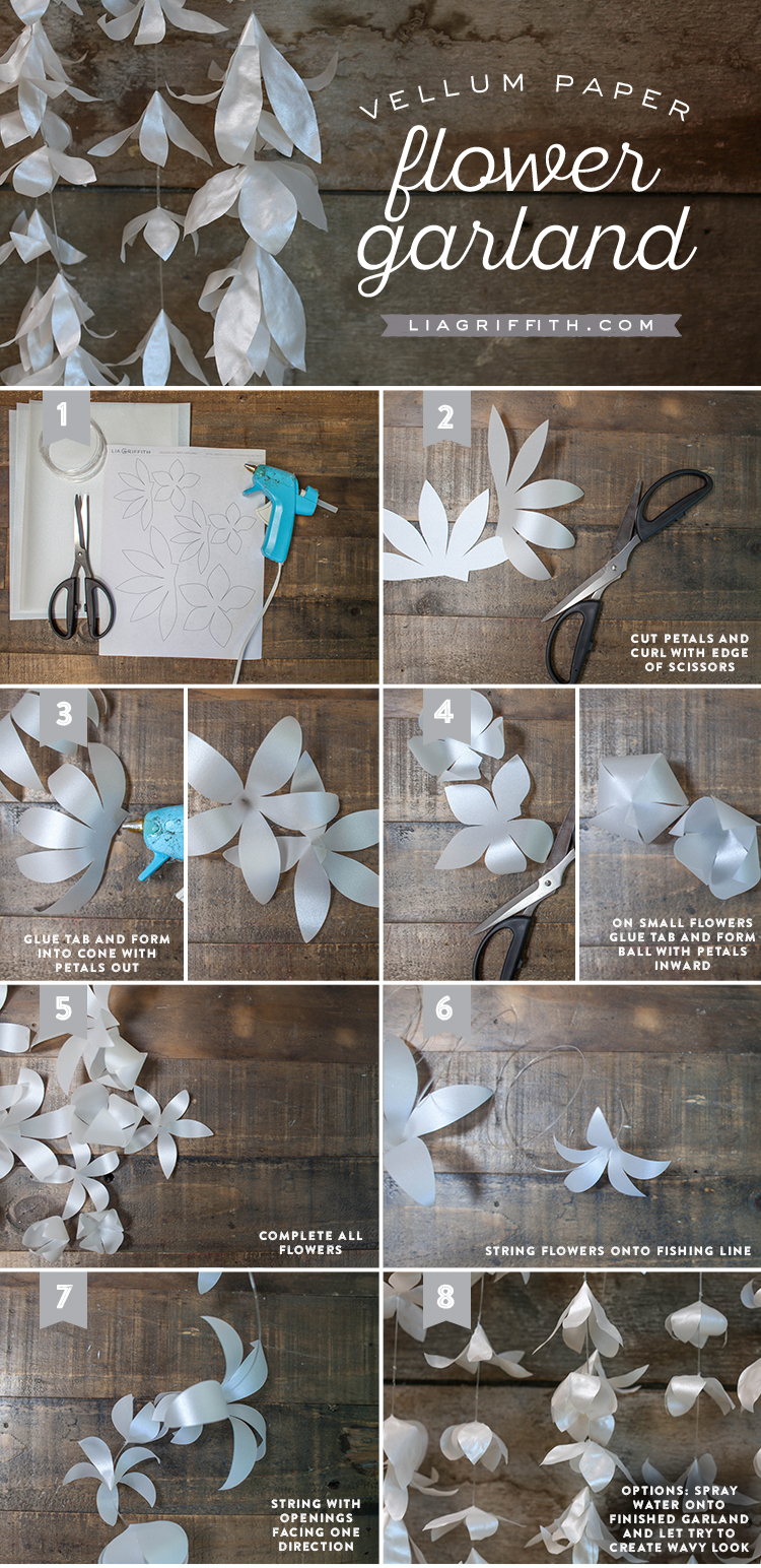 How to make a paper flower garland images fresh lotus flowers white vellum paper flower garland lia griffith mightylinksfo