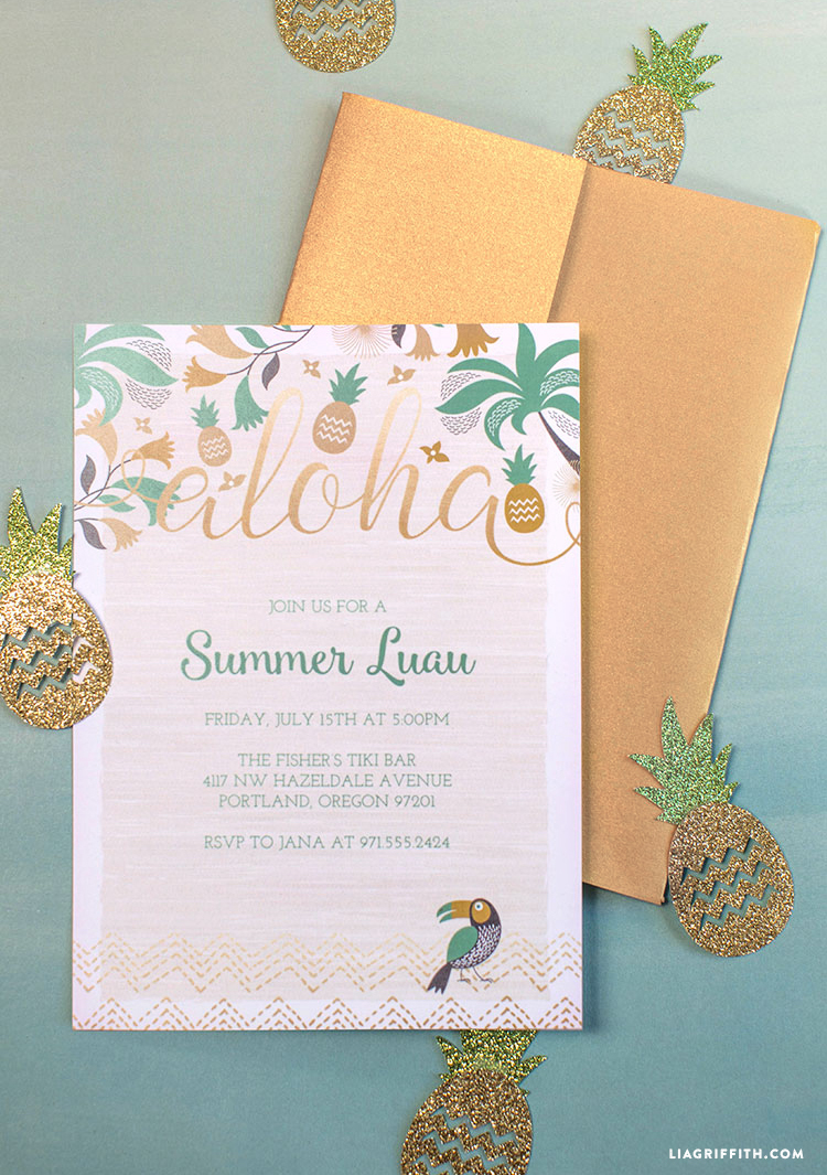 luau party invitations  lia griffith, invitation samples