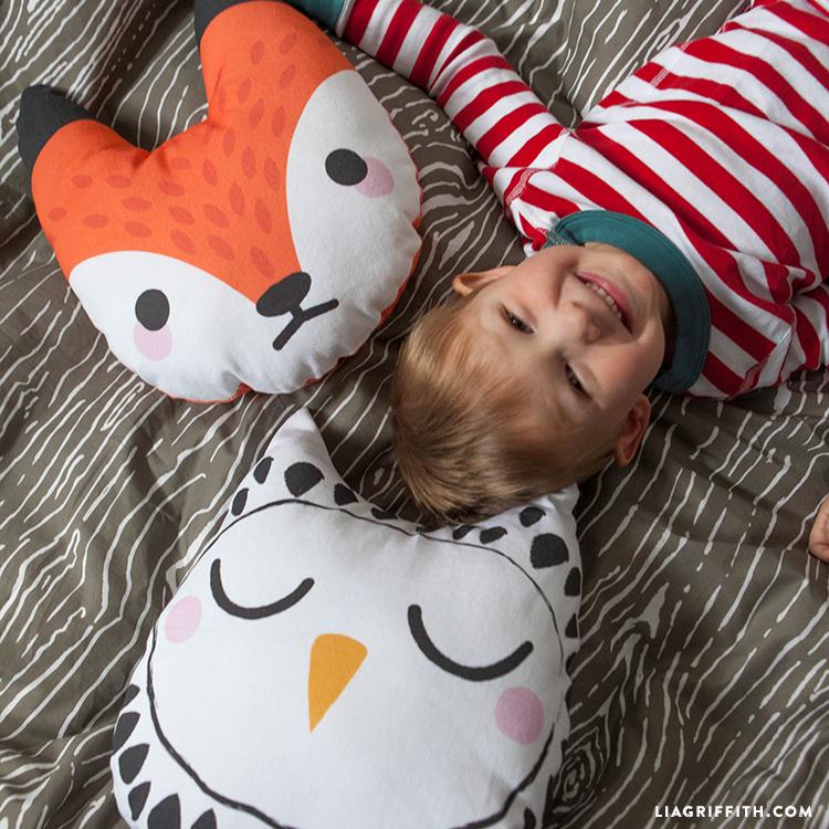 handmade woodland pillows for kids