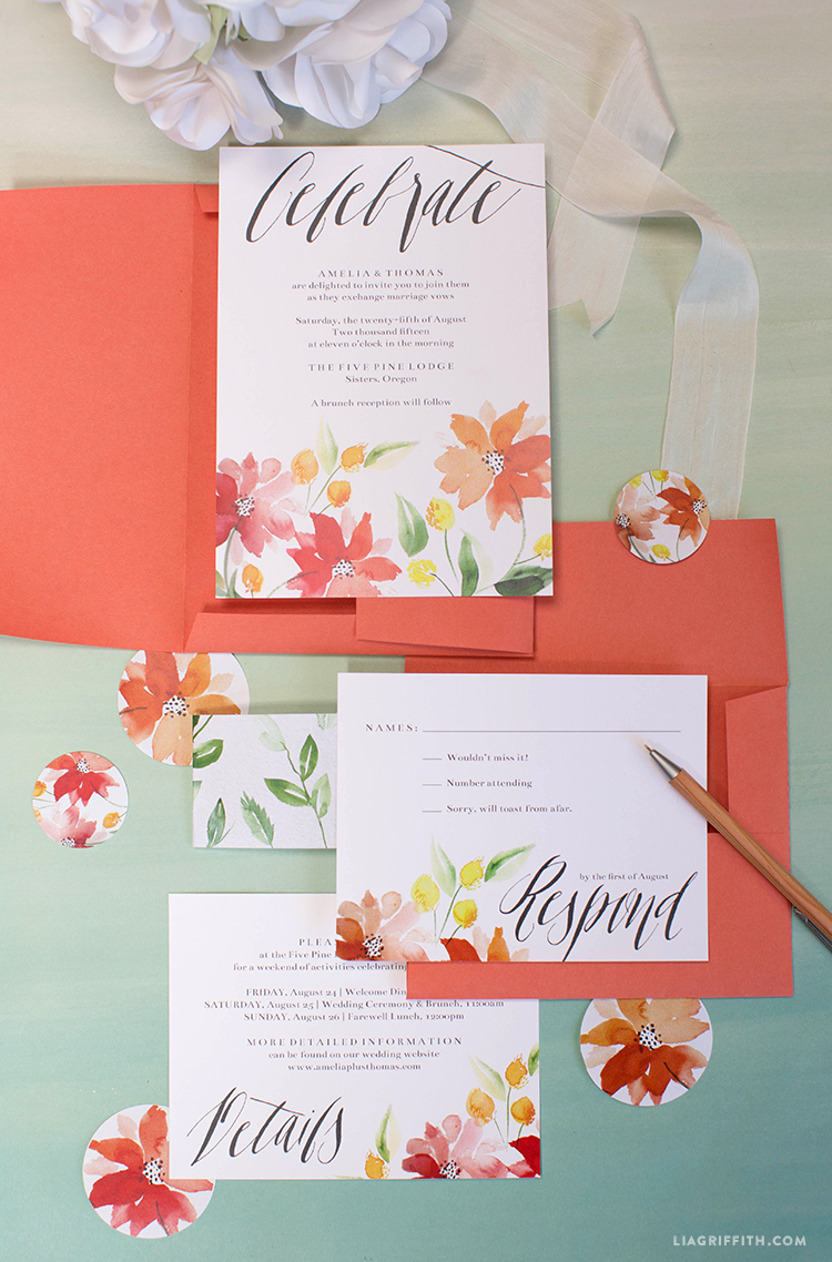 watercolor wedding invitations - lia griffith, Wedding invitations