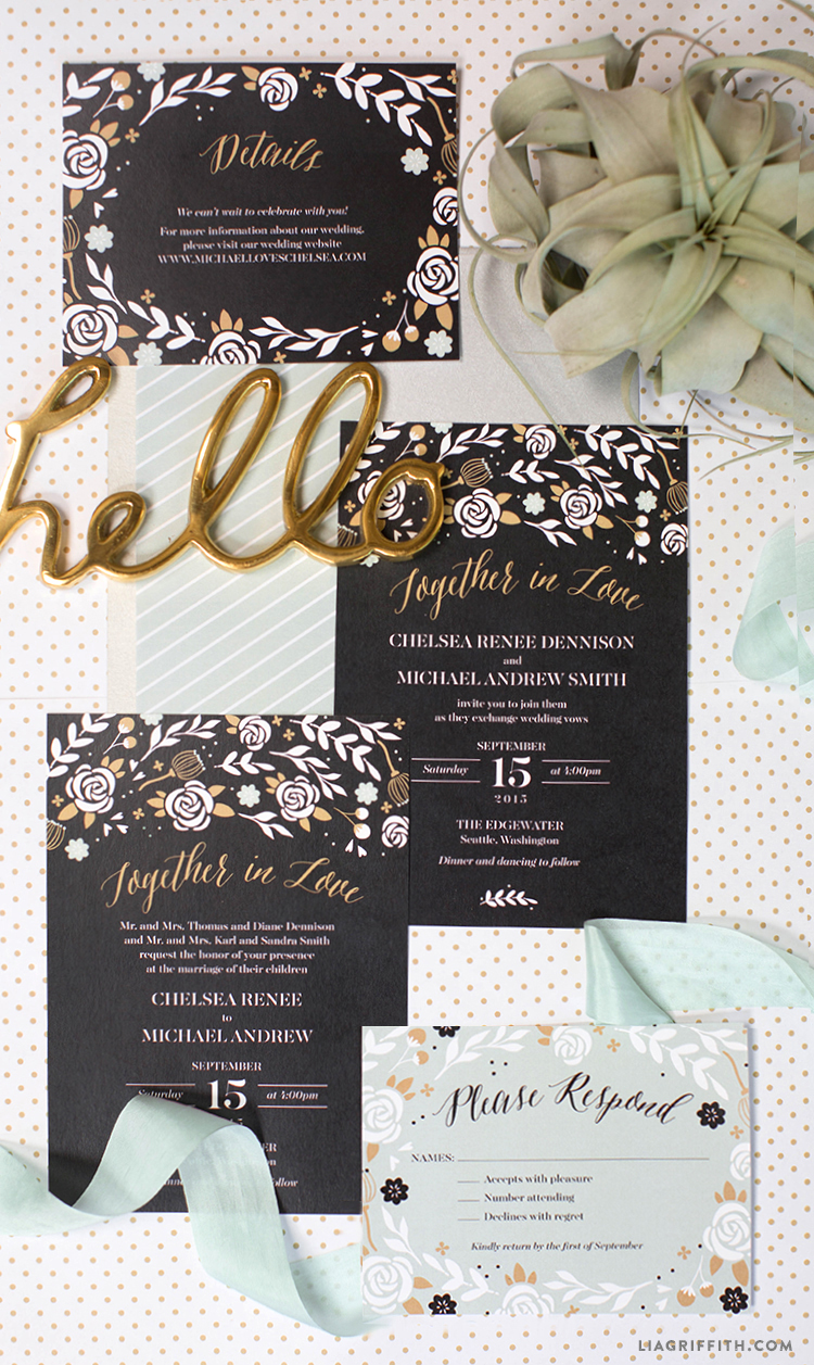 Black and Mint Wedding Invitations Lia Griffith