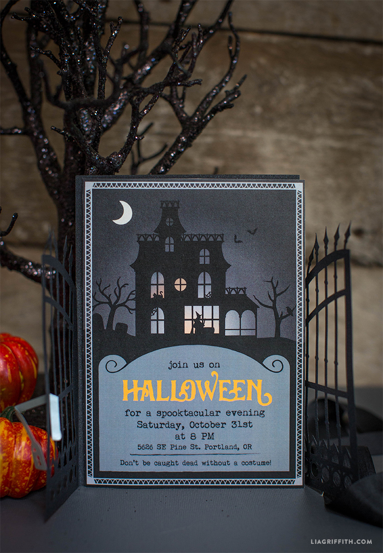 Paper Cut Halloween Party Invitations - Lia Griffith