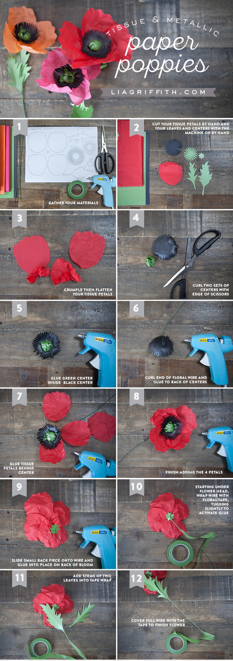 Easy To Follow Tissue Paper Poppy Tutorial By Lia Griffith